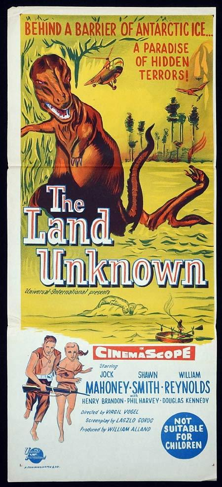 THE LAND UNKNOWN Original Daybill Movie poster DINOSAURS Jock Mahoney