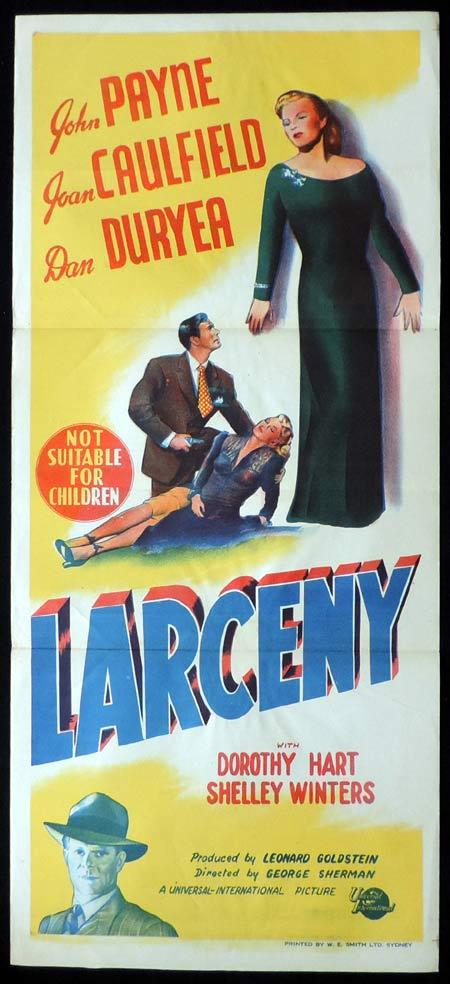 LARCENY Original Daybill Movie Poster Joan Caulfield John Payne