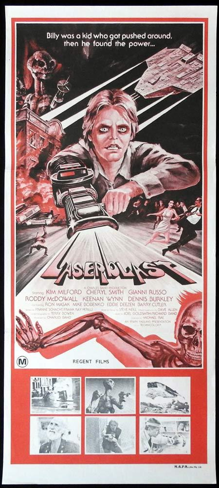 LASERBLAST Daybill Movie Poster Kim Milford Cheryl Smith