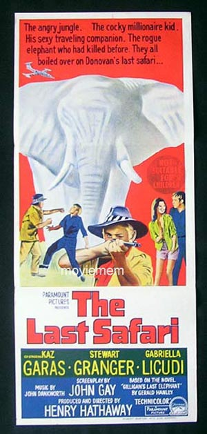 THE LAST SAFARI Stewart Granger ORIGINAL poster