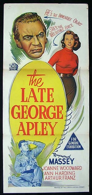 THE LATE GEORGE APLEY Daybill Movie poster Raymond Massey