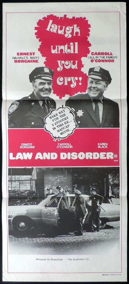 LAW AND DISORDER, Original, Australian Daybill, Movie poster, Carroll O'Connor, Ernest Borgnine