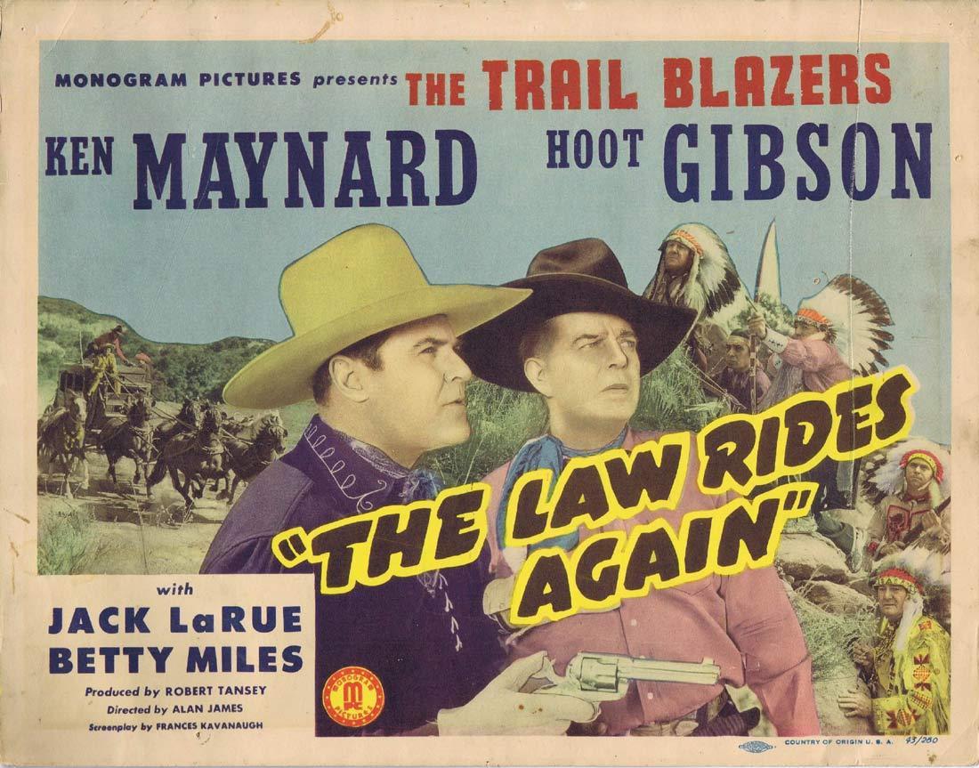 THE LAW RIDES AGAIN Original Lobby card Hoot Gibson 1943