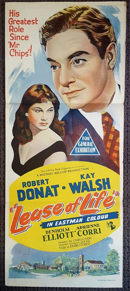 LEASE OF LIFE Original Daybill Movie Poster Robert Donat Kay Walsh Adrienne Corri