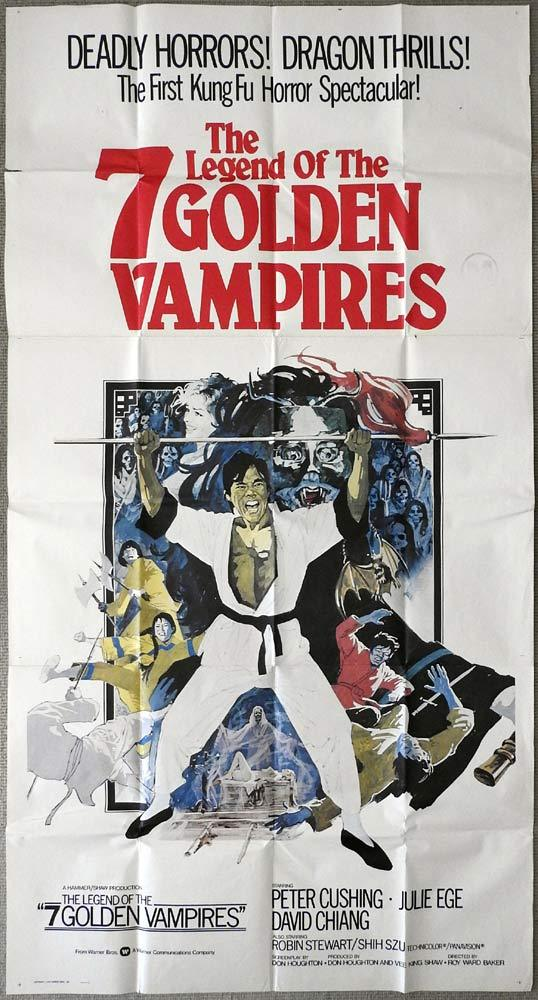 THE LEGEND OF THE 7 GOLDEN VAMPIRES Original 3 Sheet Movie Poster Hammer Kung Fu
