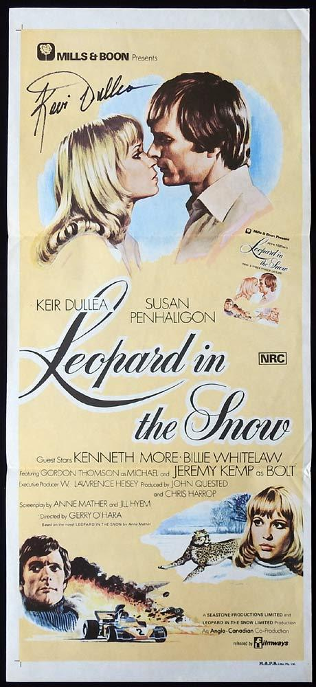 LEOPARD IN THE SNOW Original Daybill Movie poster AUTOGRAPHED By Keir Dullea