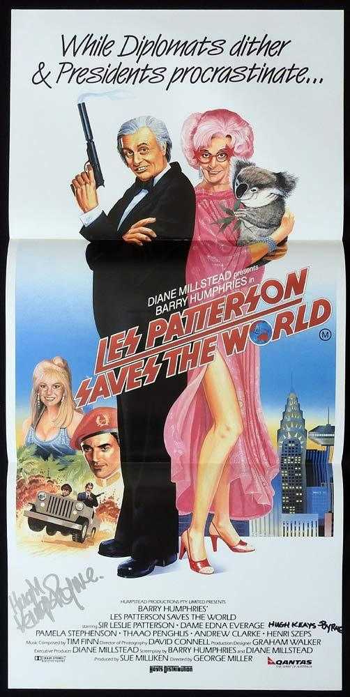 LES PATTERSON SAVES THE WORLD Original Daybill Movie poster AUTOGRAPH by HUGH KEAYS BYRNE