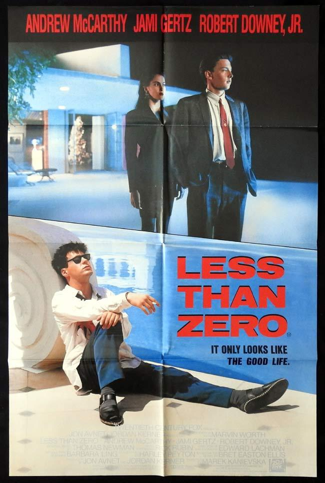 LESS THAN ZERO Original One sheet Movie poster Robert Downey Andrew McCarthy