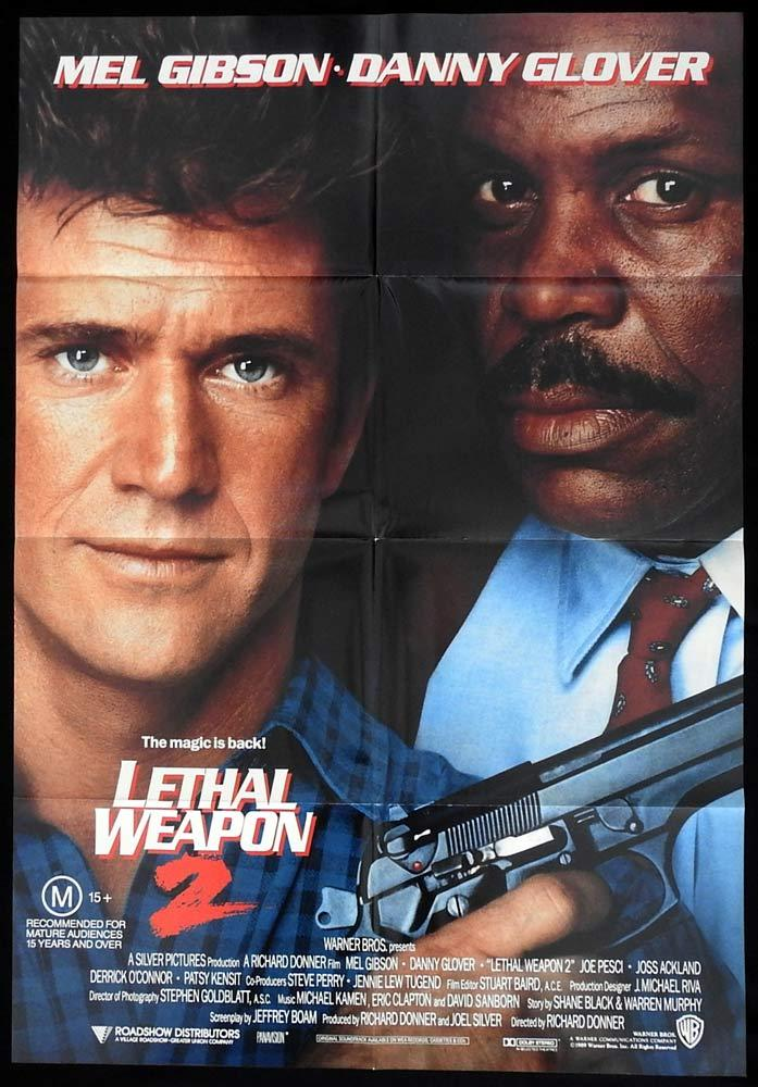 LETHAL WEAPON 2 One sheet Movie Poster Mel Gibson Danny Glover