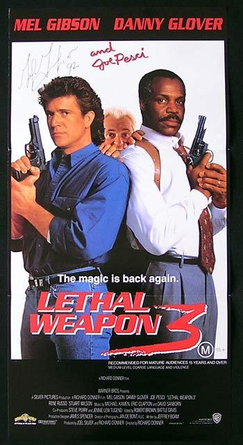 LETHAL WEAPON 3 Australian Daybill Movie Poster Mel Gibson