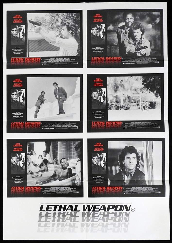 LETHAL WEAPON Original UNCUT Photo Sheet Movie Poster Mel Gibson Danny Glover