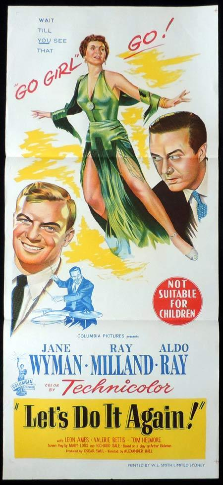 LET'S DO IT AGAIN Original Daybill Movie Poster Ray Milland Jane Wyman