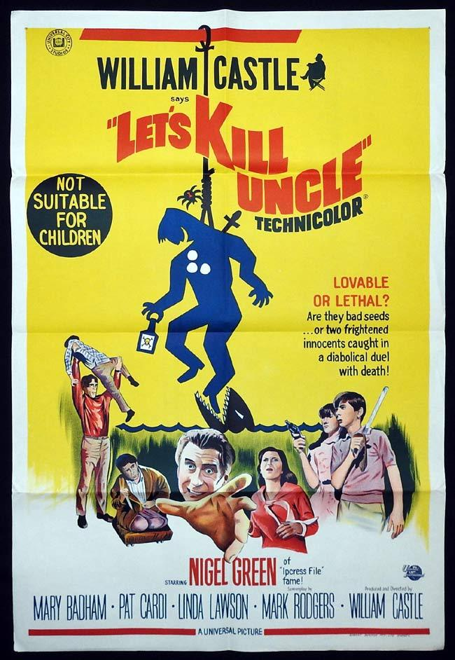 LET'S KILL UNCLE Original One sheet Movie poster WILLIAM CASTLE Nigel Green