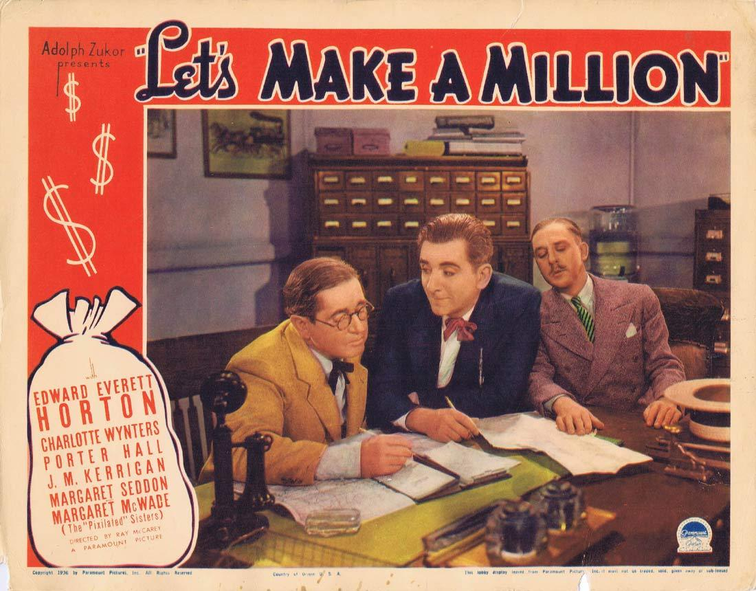 LET'S MAKE A MILLION Original Lobby Card Edward Everett Horton Porter Hall