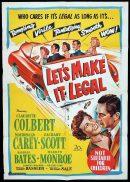 LET'S MAKE IT LEGAL Original One sheet Movie Poster MARILYN MONROE Claudette Colbert Macdonald Carey