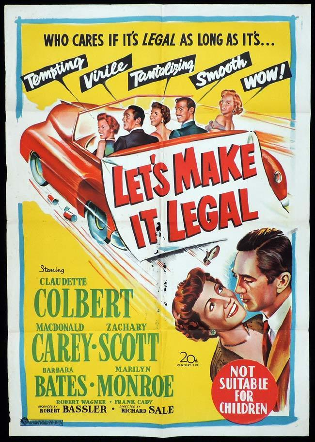 LET'S MAKE IT LEGAL Original One sheet Movie Poster MARILYN MONROE Claudette Colbert Macdonald Carey