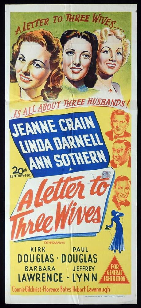 A LETTER TO THREE WIVES Original Daybill Movie poster  Jeanne Crain Linda Darnell