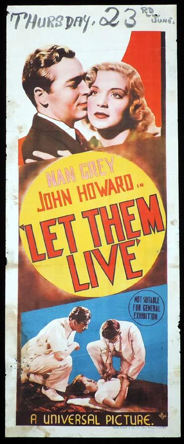 LET THEM LIVE Long Daybill Movie poster 1937 Nan Grey John Howard