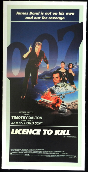 LICENCE TO KILL 1987 James Bond Australian LINEN BACKED Daybill Movie poster