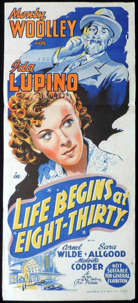 LIFE BEGINS AT EIGHT THIRTY Original Daybill Movie Poster 1942 Monty Woolley Ida Lupino