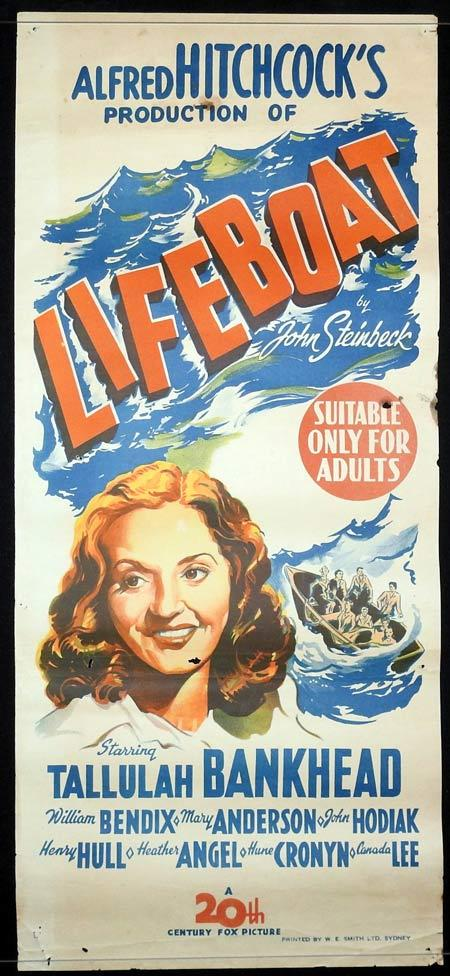 LIFEBOAT Original daybill Movie Poster Alfred Hitchcock Tallulah Bankhead