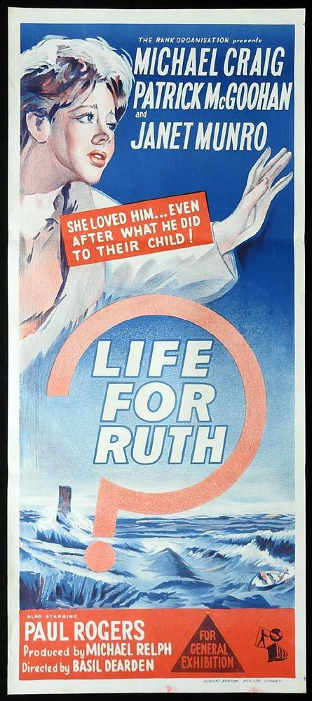 LIFE FOR RUTH Original Daybill Movie poster Michael Craig