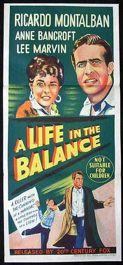 A LIFE IN THE BALANCE Daybill Movie poster Anne Bancroft Lee Marvin
