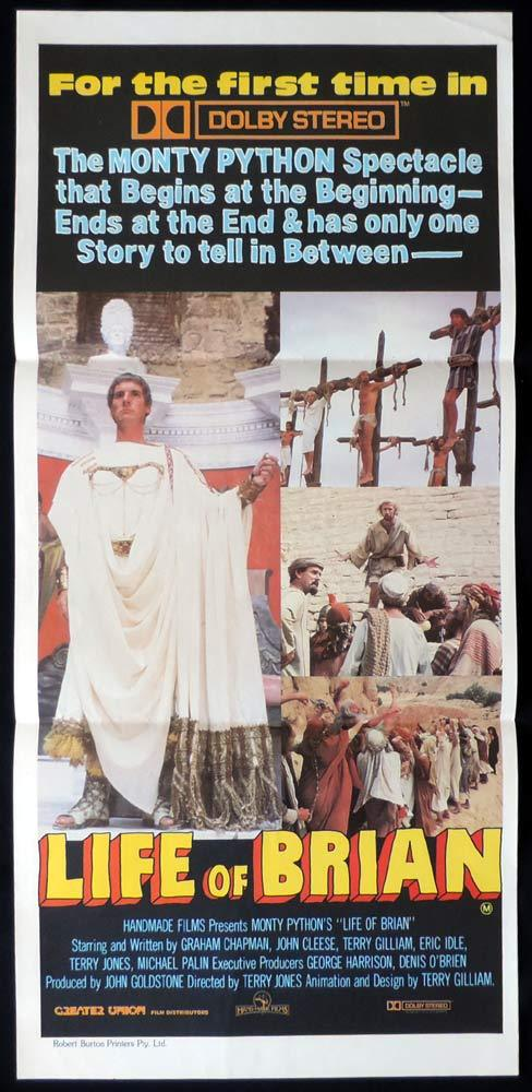 MONTY PYTHON'S THE LIFE OF BRIAN Daybill Movie Poster Dolby 1983r