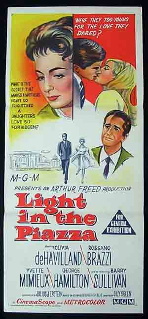 LIGHT IN THE PIAZZA Original Daybill Movie poster Olivia de Havilland