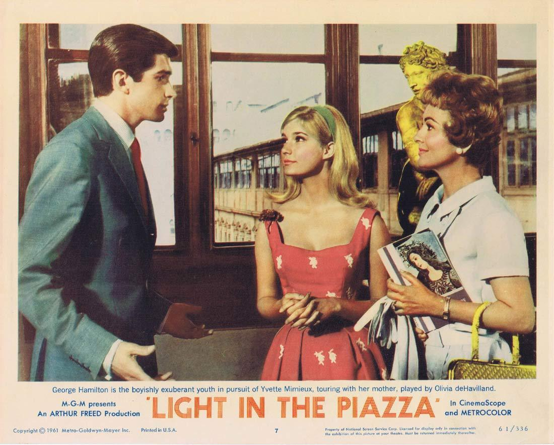 LIGHT IN THE PIAZZA Original Lobby Card 7 Olivia de Havilland Rossano Brazzi