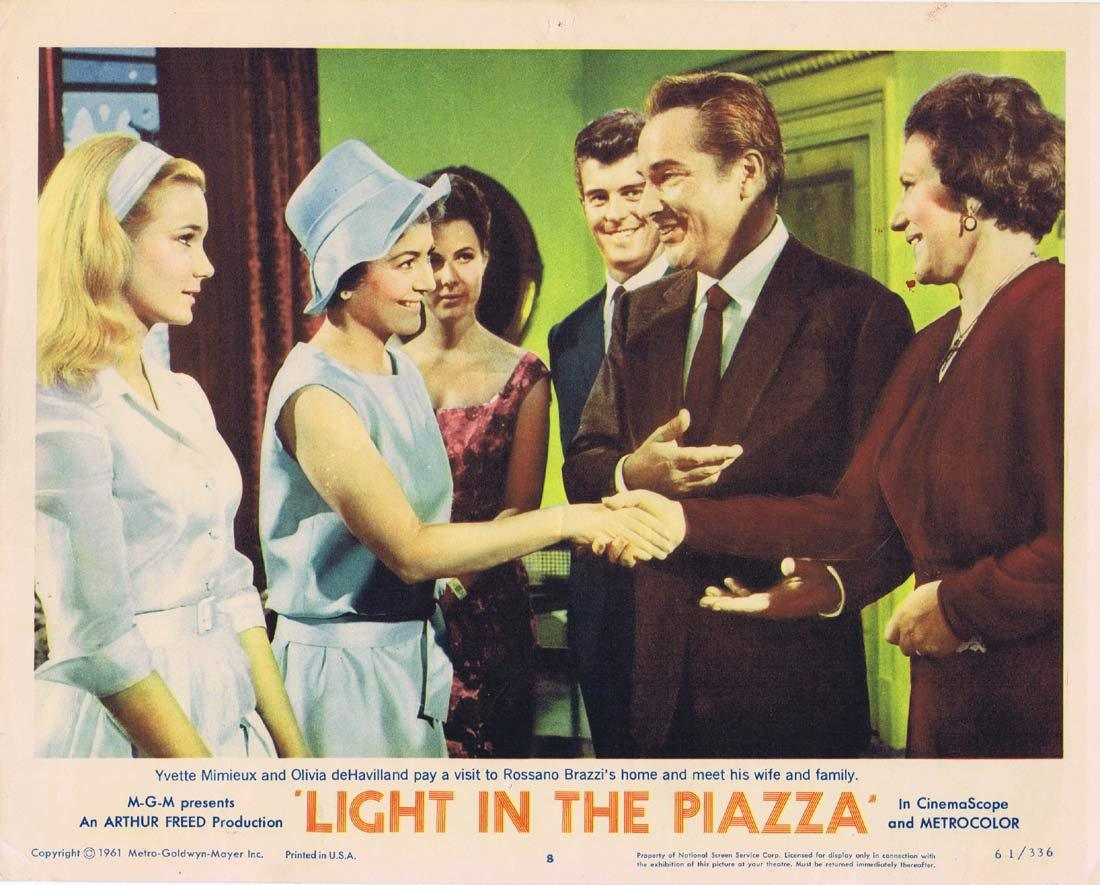 LIGHT IN THE PIAZZA Original Lobby Card 8 Olivia de Havilland Rossano Brazzi