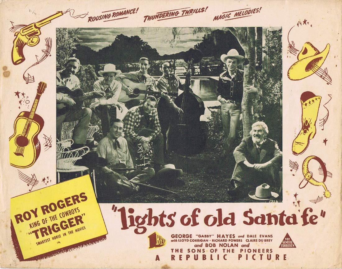 LIGHTS OF OLD SANTA FE Vintage Australian Lobby Card Roy Rogers Dale Evans Trigger