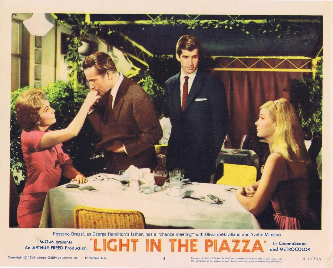 LIGHT IN THE PIAZZA Original Lobby Card 4 Olivia de Havilland Rossano Brazzi