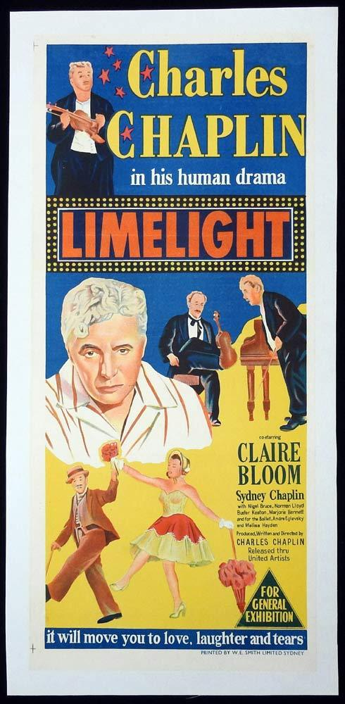 LIMELIGHT Original LINEN BACKED Daybill Movie Poster Charlie Chaplin 1952