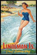 LINDEMAN ISLAND Original Travel poster c.1950s Water Skiing Great Barrier Reef