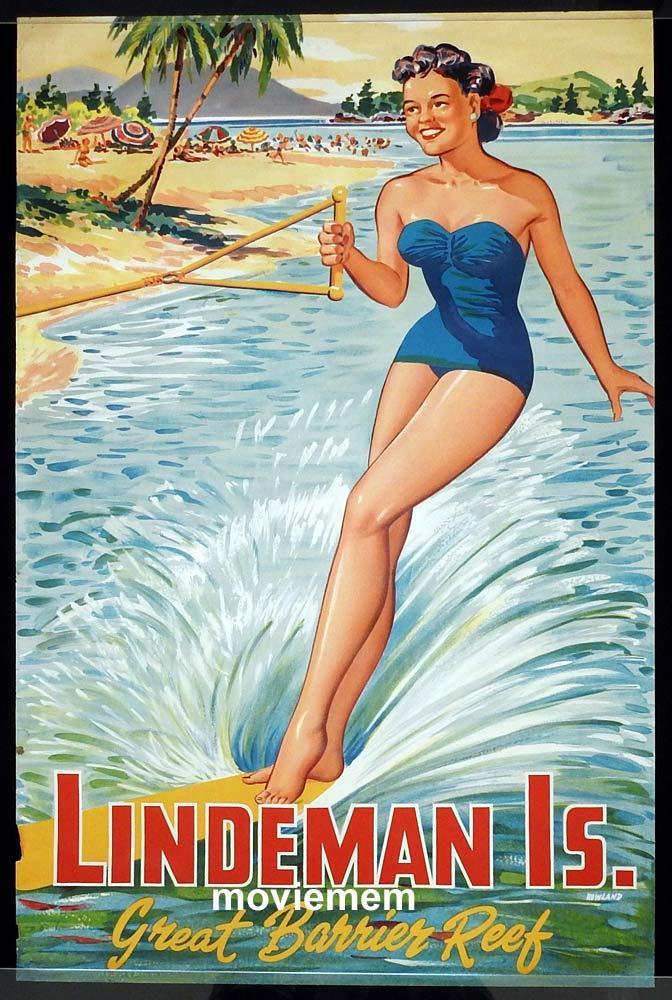 LINDEMAN ISLAND Original Travel poster c.1950s Water Skiing Great Barrier Reef