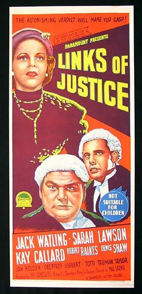 LINKS OF JUSTICE Original Daybill Movie Poster Richardson Studio Courtroom Drama