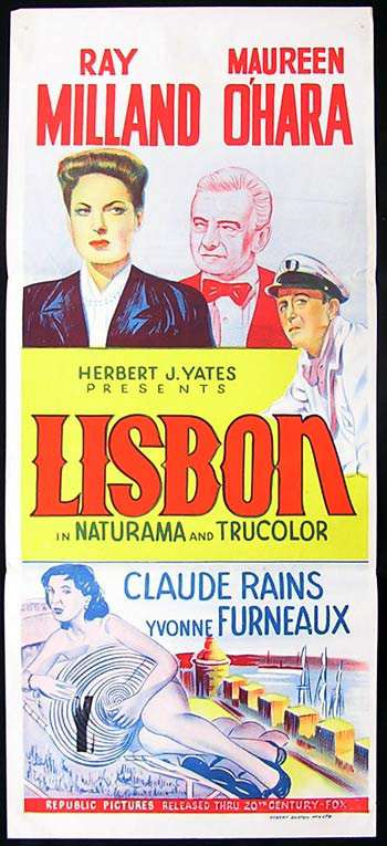 LISBON Original Daybill Movie Poster Claude Rains