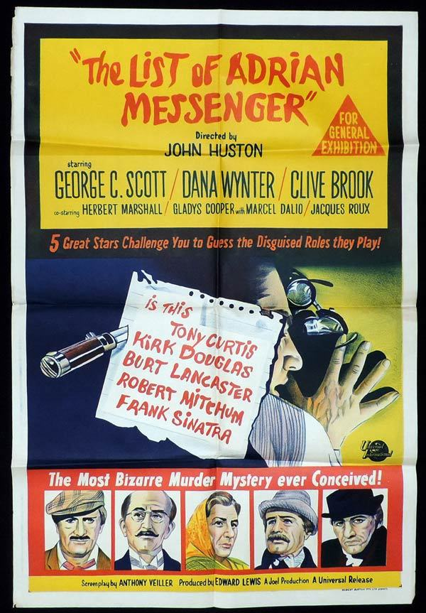 THE LIST OF ADRIAN MESSENGER One Sheet Movie George C.Scott Dana Wynter