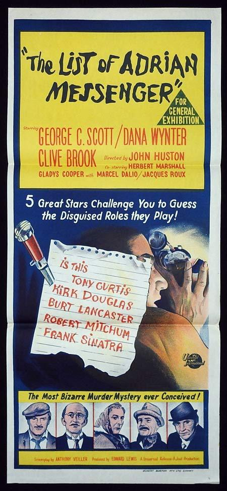 THE LIST OF ADRIAN MESSENGER Original Daybill Movie poster Kirk Douglas George C. Scott