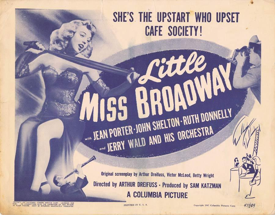 LITTLE MISS BROADWAY Title Lobby Card 1947 Jean Porter