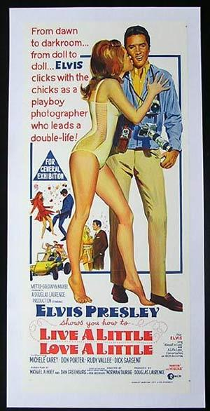LIVE A LITTLE LOVE A LITTLE Daybill Movie poster Elvis Presley Linen Backed