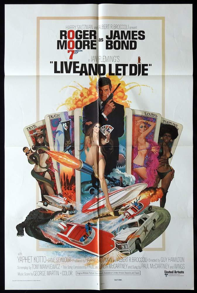 LIVE AND LET DIE Original US One sheet Movie poster James Bond