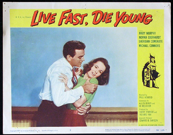 LIVE FAST DIE YOUNG 1958 Bad Girl Mike Connors Lobby card 2