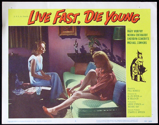 LIVE FAST DIE YOUNG 1958 Bad Girl Norma Eberhardt Lobby card 5