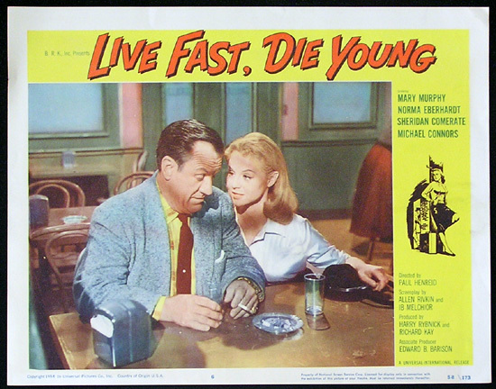 LIVE FAST DIE YOUNG 1958 Bad Girl Norma Eberhardt Lobby card 6