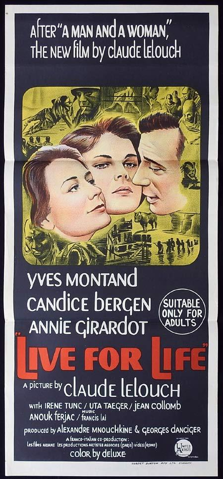LIVE FOR LIFE Original Daybill Movie Poster Yves Montand Claude Lelouch