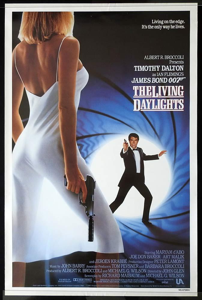THE LIVING DAYLIGHTS Original US One sheet Movie Poster James Bond Timothy Dalton
