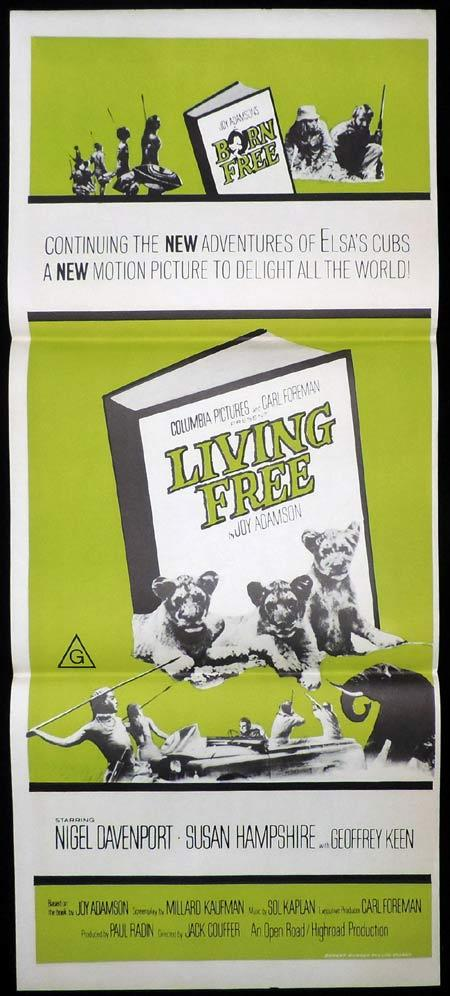 LIVING FREE Original Daybill Movie Poster Nigel Davenport Susan Hampshire