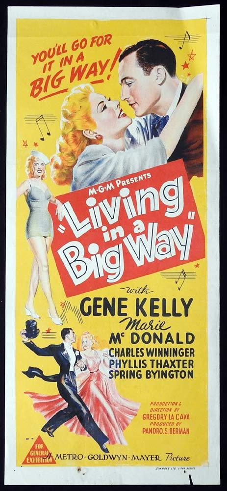 LIVING IN A BIG WAY Original Daybill Movie poster Gene Kelly Marie McDonald